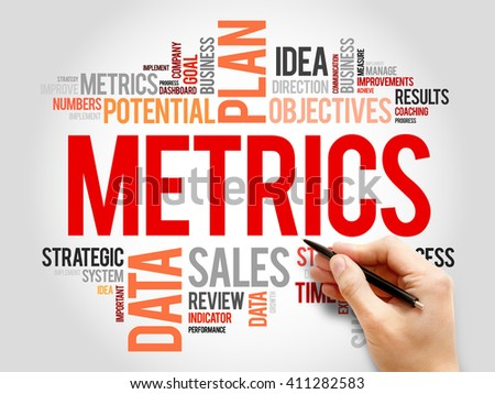 Metrics word cloud, business concept - stock photo