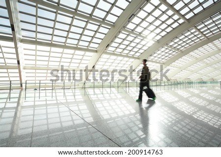 metro in beijing T3 airport modern station at people - stock photo