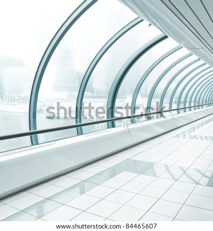 metro station, blue glass corridor - stock photo
