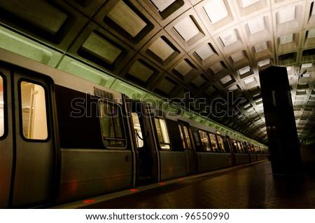 Metro station interior  in Washington DC, United States - stock photo