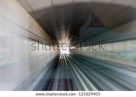 metro subway tracks - stock photo