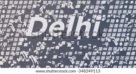 metropolis cities - delhi - stock photo