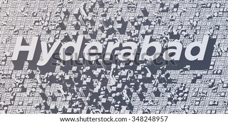 metropolis cities - hyderabad - stock photo