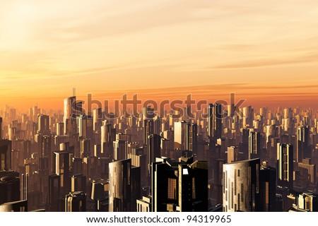 Metropolis 3D render - stock photo