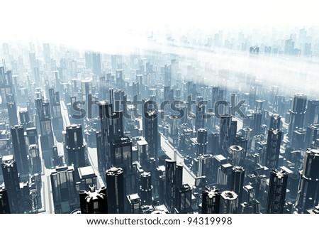 Metropolis 3D render heavy smog - stock photo