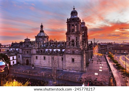Metropolitan Cathedral and President's Palace in Zocalo, Center of Mexico City Mexico Sunrise - stock photo
