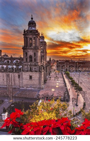 Metropolitan Cathedral Christmas in Zocalo, Center of Mexico City Mexico Sunrise - stock photo