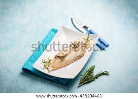 meuniere sole fish  - stock photo