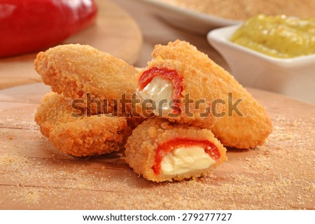 Mexican-american jalapeno poppers sticks and ingredients. - stock photo