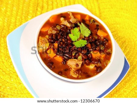 Mexican black been soup - stock photo