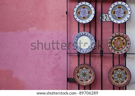 Mexican ceramic plates. - stock photo