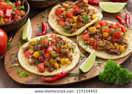 Mexican cuisine - tortillas with chili con carne and tomato salsa, horizontal - stock photo