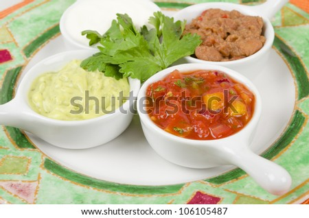 Mexican Dips & Side Dishes - Salsa, Guacamole, Sour Cream & Refried Beans - stock photo