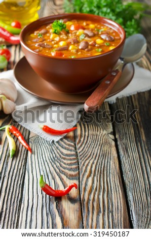 Mexican dish Chili Con Carne in plate - stock photo