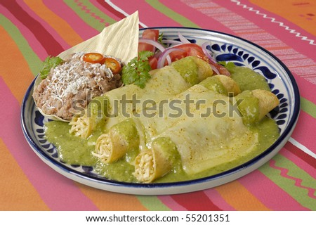 Mexican Enchiladas with clipping path - stock photo