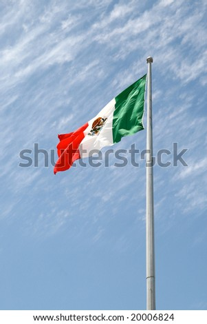 Mexican flag in Playa del Carmen, Mexico - stock photo