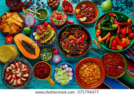 Mexican food mix colorful background Mexico - stock photo