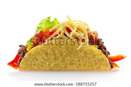 Mexican food Taco isolated on a white background - stock photo