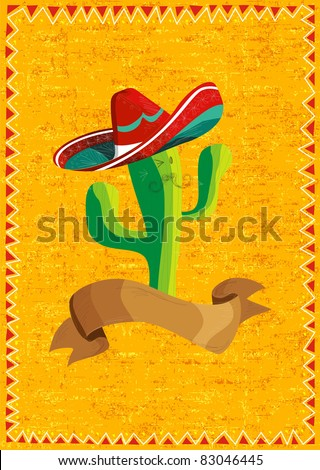 Mexican funny cactus cartoon character and ribbon illustration over grunge background. Useful for menu design. - stock photo