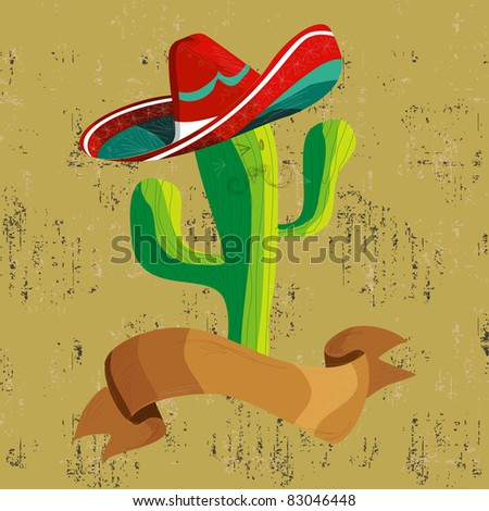 Mexican funny cactus cartoon character illustration over grunge background. Useful for menu design. - stock photo