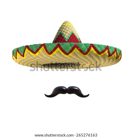 Mexican hat sombrero with mustache - stock photo