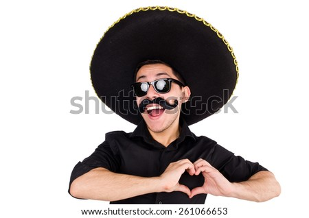 Mexican man gesturing isolated on white - stock photo