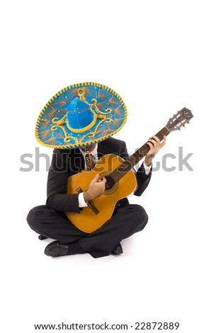 Mexican Man with a wood guitar . - stock photo