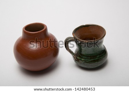 Mexican Miniature Clay pot and jar  - stock photo