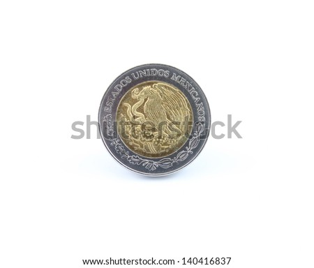 Mexican 2 peso coin back view isolated on white - stock photo