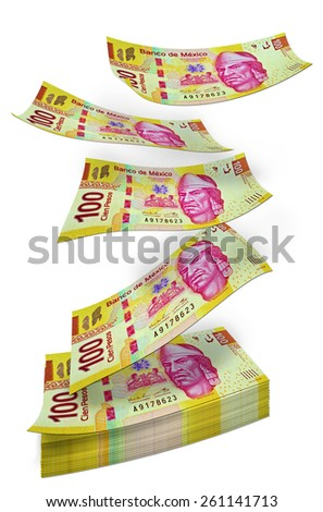 Mexican Peso money pile - stock photo