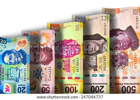 Mexican Peso Paper Bill Growth Graph - stock photo