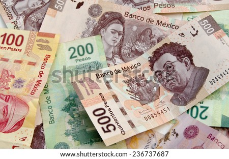 Mexican Pesos, bank notes, currency bills, money background - stock photo