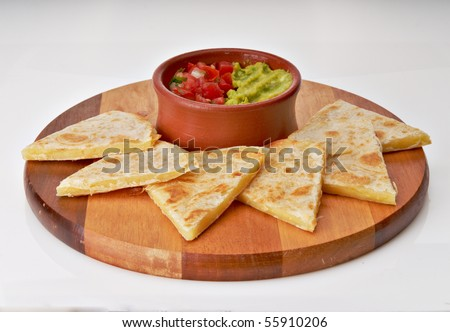 Mexican Pico de Gallo with Quesadillas - stock photo