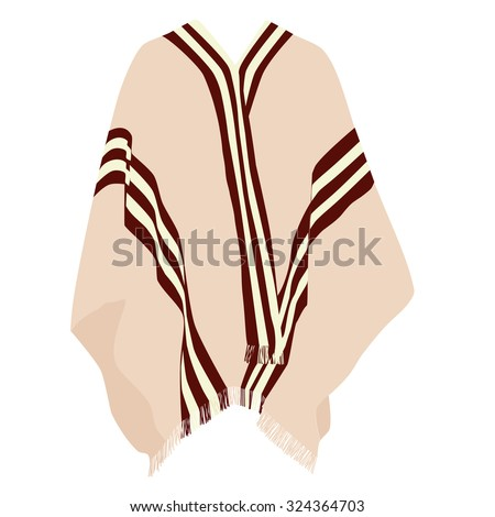 Mexican poncho, poncho raster, isolated on white, raster - stock photo