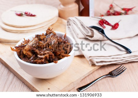 Mexican pulled pork with spices and tortillas horizontal - stock photo