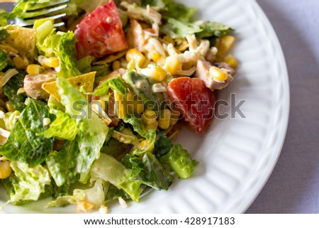 mexican salad on a white plate close up  - stock photo