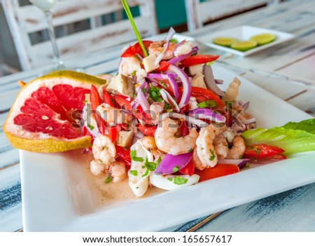 Mexican seafood ceviche - stock photo