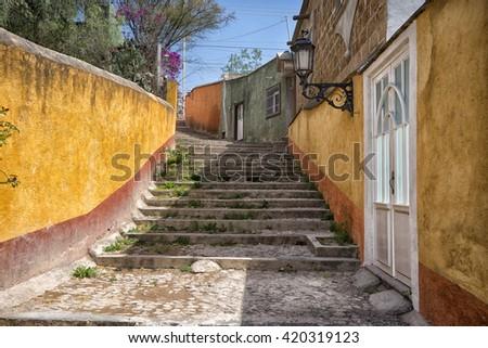 Mexican street in Bernal, Queretaro - stock photo