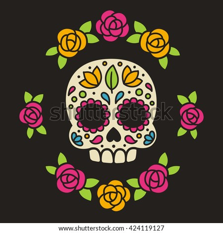Mexican sugar skull with flowers. Dia de los Muertos, or Day of the Dead.  - stock photo