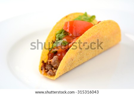 Mexican taco served on a white plate in Homemade Mexican restaurant in Mexico. Close-up food background and texture - stock photo
