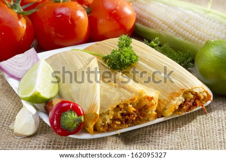 Mexican tamale wrapped in corn husk served on plate. - stock photo