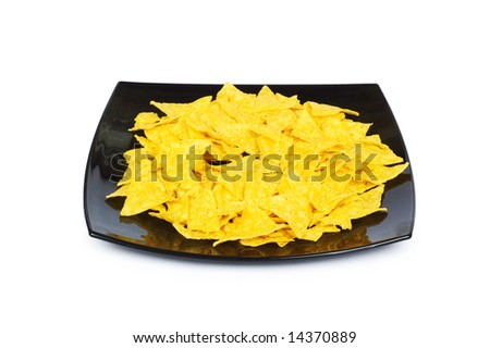 Mexican traditional food - corn chips on white - stock photo
