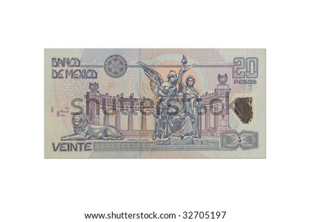 Mexican twenty Peso bill - stock photo