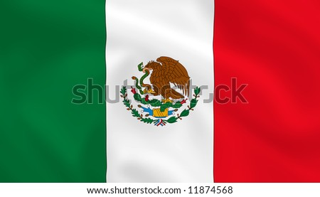 Mexican waving flag - stock photo