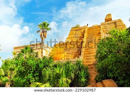 Mexico, Aztec pyramids in the jungle. - stock photo