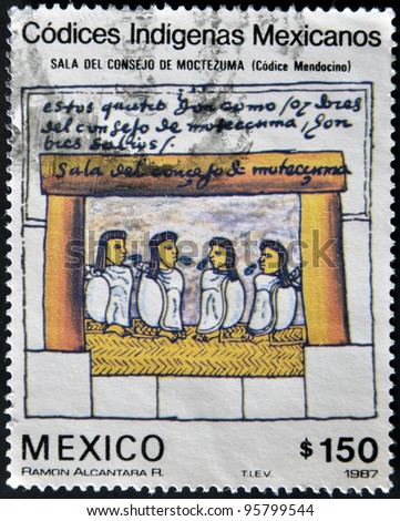 MEXICO - CIRCA 1987: A stamp printed in Mexico dedicated to Mexican indigenous codices shows council hall of Montezuma (codice mendocino), circa 1987 - stock photo