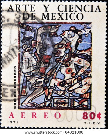 MEXICO - CIRCA 1971: A stamp printed in Mexico shows an image relating to pre-Columbian Mexican art and science, circa 1971 - stock photo