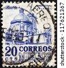 MEXICO - CIRCA 1950: A stamp printed in Mexico shows Puebla Cathedral, circa 1950. - stock photo