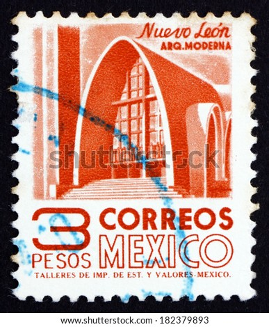 MEXICO - CIRCA 1951: a stamp printed in the Mexico shows Modernistic Church, Nuevo Leon, circa 1951 - stock photo