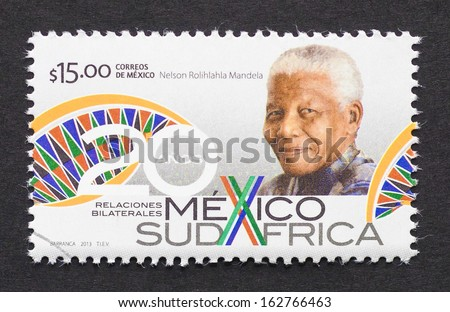 MEXICO - CIRCA 2013: postage stamp printed in Mexico showing an image of Nobel Peace prize winner Nelson Mandela to commemorate 20 years of Mexico and South Africa bilateral relations, circa 2013.  - stock photo
